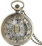SILOLA Taschenuhr, Vintage Bronze Quarz Taschenuhr Hollow Scorpio Case Einzigartiges Geschenk für Geschenke für Männer Frauen Jungen