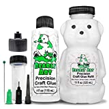 Bearly Art Precision Craft Glue -The Bundle - 4fl oz and 11fl oz Refill Bear - Tip Kit Included - Non-Toxic - Wrinkle Resistant - Flexible and Crack Resistant - Strong Hold Adhesive - Made in USA