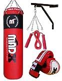 MADX - Juego de boxeo con saco de piel (1,2m), guantes, soporte de pared...