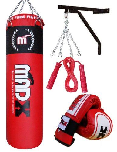MADX - Juego de boxeo con saco de piel (1,2m), guantes, soporte...