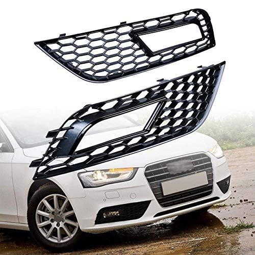 RKRZLB Scheinwerferlinse Paar Frontstoßstange Nebel-Lampen-Lichtgitter RS4 Stil Frontstoßstange Kühlergrill Nebelscheinwerfer Grill Fit for Audi A4 B8.5 2013-2016 (Color : Black)