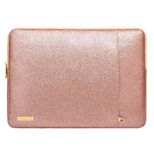 MOSISO Laptop Sleeve Compatible with 13-13.3 inch MacBook Air, MacBook Pro, 2019 2018 Suface Laptop, Notebook Computer, PU Leather Vertical Style Padded Bag Waterproof Case, Rose Gold
