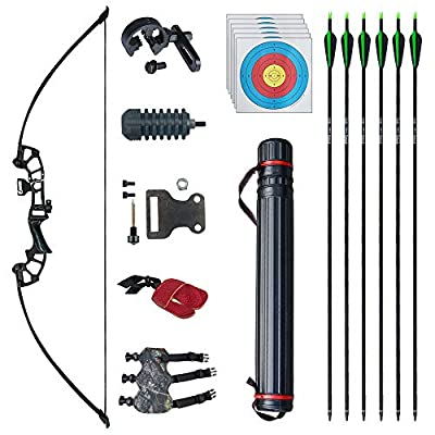"""D&Q 50"""" Archery Takedown Recurve Bow and Arrow Set 30lb/40lb Right Hand Longbow Kit for Adult Beginner Outdoor Training Hunting Shooting"""
