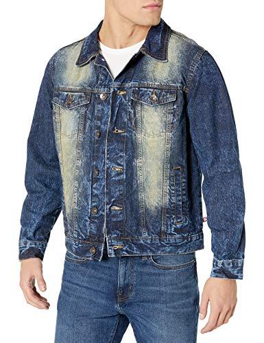 Southpole Men's Premium Fashion Denim Jacket, Dark Vintage Signature, Large