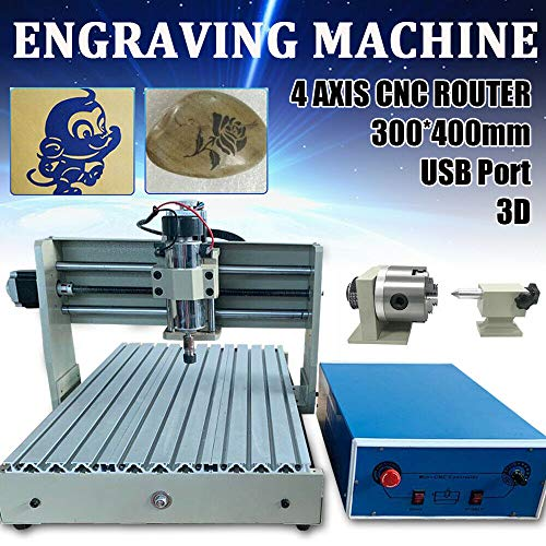 Macchina CNC 3040 per incisioni a 4 assi, incisione 3D per industria, design pubblicitario, creazione opere d'arte, 300 x 400 mm