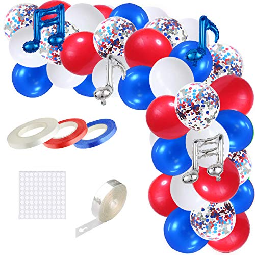 Baseball Theme Party Decorations Kit - Red White Royal Blue Balloon Arch Garland Confetti Latex Balloons Music Note Foil Balloon Sports Half Birthday Balloon for Shower July 4th Decor Independence Day Party
