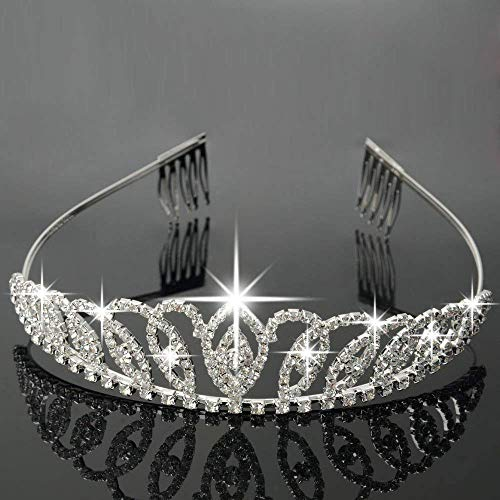 Bseash Silver Crystal Tiara Crown Headband Princess Elegant Crown with combs for Women Girls Bridal Wedding Prom Birthday Party