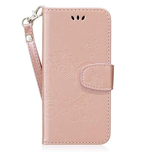 QPOLLY Kompatibel mit Samsung Galaxy S6 Edge Hülle Leder Tasche Flip Case Schutzhülle Blumen Muster Brieftasche mit Kartenfächer Magnetverschluss Stand Cover Bookstyle Klapphülle Handyhülle,Rosegold