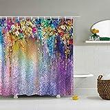XZLWW Cortina de Ducha revestida Estampado de Flores de Colores baño baño Cortina de Ducha con Flores de Ganchillo 150x180CM A