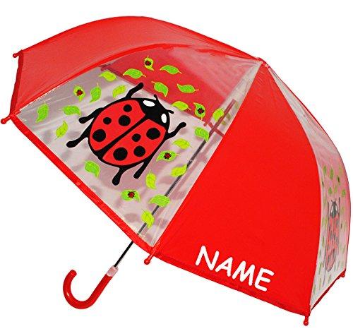 alles-meine.de GmbH Regenschirm - transparent -  Marienkäfer  - incl. Name - Kinderschirm Ø 76 cm - Kinder Stockschirm - für Mädchen Jungen - durchsichtig - Schirm Kinderregens..