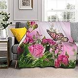 Manta de lana de cordero con diseño de flores rosas con mariposas y piel de zorro plateada, manta ultrasuave para hombres y mujeres