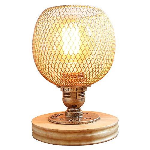GYYlucky Edison Vintage decoratieve lampen, retro bedlamp, antiek, tafellamp, E27, tafellamp, voet, hout, zwart, goud, lampenkap, bureaulamp, van metalen buis, gloeilamp, stekker, dimbaar bol