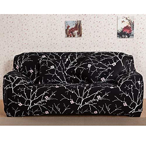 ENCOFT 1/2/3/4 Sitzer Sofabezug Sofaüberwurf Stretch weich Elastisch Farbecht Elastischer Sofa-Überwürfe Antirutsch Stretch Sofaüberzug (Schwarz, 3 Sitzer)