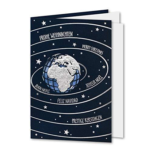 50x dunkelblaue Weihnachtskarte mit Einleger - Set mit silbernen Umschlägen - 11,5 x 17 cm - DIN B6 - Silber-Prägung - Schriftzug Frohe Weihnachten, mehrsprachig - Faltkarte