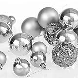 Deuba Weihnachtskugeln Silber 100 Christbaumschmuck Aufhänger Christbaumkugeln für den Weihnachtsbaum Weihnachtsbaumschmuck Weihnachtsbaumkugeln - 9