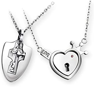 Vanski His & Hers Matching Set Stainless Steel Couple Necklace Love Heart Lock and Key Pendant Necklace