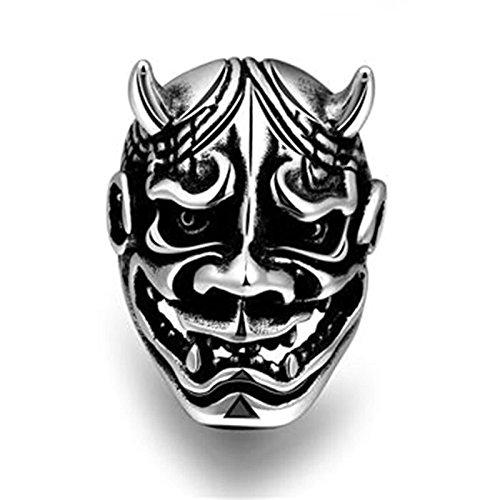 Aeici Silber Schwarz Ringe für Herren Modestil Dämon König Maske DaumenRingee Größe 65 (20.7)