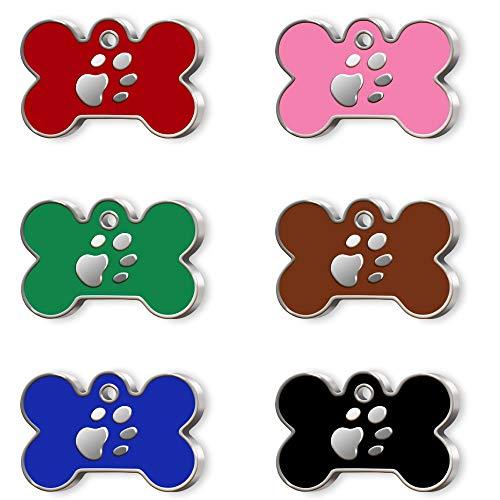 Pet Tag Art Con Forma de Hueso Etiqueta de Mascota Personalizada grabada, Etiqueta de Perro, Etiqueta de identificación de Mascota