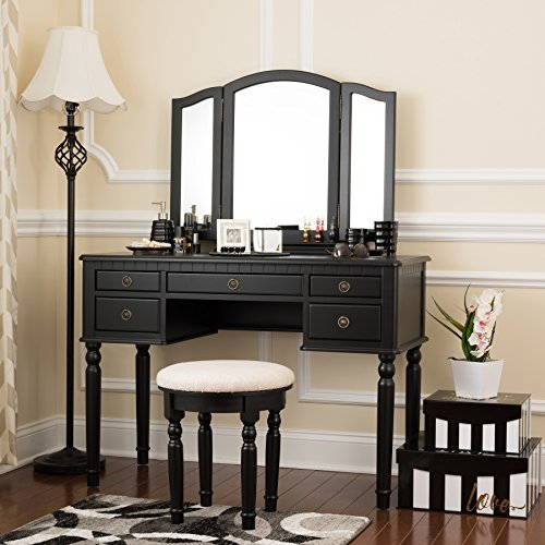 Fineboard Dressing Set with Stool Beauty Station Makeup Table Three Mirror Vanity...