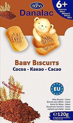 Danalac Babykekse Kakao, 120 g Snacks und Nahrung für Kleinkinder ab 6 Monaten mit Kalzium, Eisen und Vitaminen
