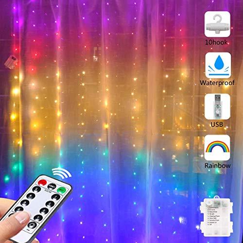 Cadena de Luces LED Cortina Arcoiris con Ganchos, Luz de Cortina Hadas Twinkle Cadena Ventana USB y Batería Luz Cobre 1.5mx2m Para Exteriores Interior Boda Dormitorio Fiesta Decoración de ilum