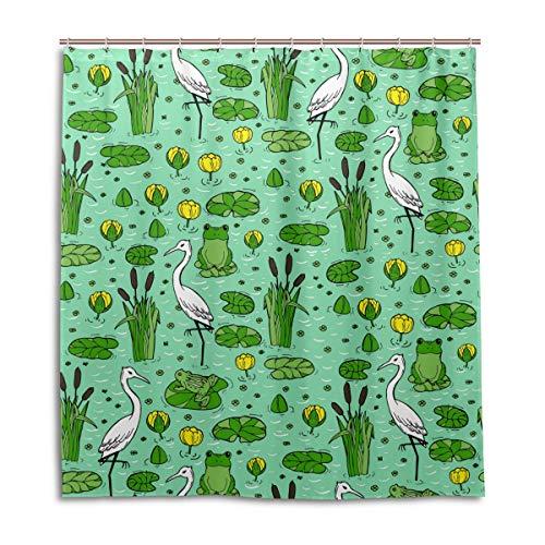 MyDaily Herons Frosch Doodle Duschvorhang, 167,6 x 182,9 cm, schimmelresistent und wasserdichte Polyester-Dekoration Badezimmer Vorhang