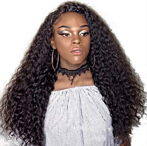 Peluca larga de Afro, peluca rizada, peluca afro, pelo auténtico, parte frontal de látex, resistente al calor: Amazon.es: Belleza