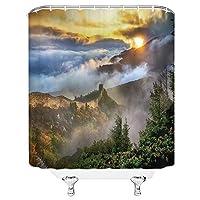 自然風景シャワーカーテンオーシャンクリフ高山景観パターンバスルームの装飾ポリエステル布カーテン - 180X180CM