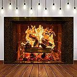 Fondo de fotografía Invierno Chimenea Madera Fuego Llama exuberante ladrillo Fiesta decoración telón de Fondo Estudio fotográfico A4 5x3ft / 1,5x1m