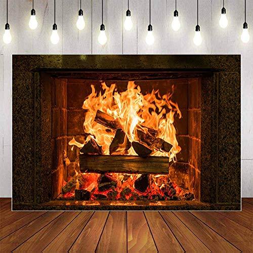 Fondo de fotografía Invierno Chimenea Madera Fuego Llama exuberante ladrillo Fiesta decoración telón de Fondo Estudio fotográfico A4 9x6ft / 2,7x1,8 m