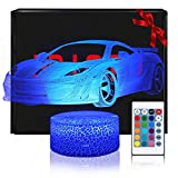 <span class='highlight'><span class='highlight'>QiLiTd</span></span> 3D Car LED Gift Toy Décor Night Light, 16 Colours Change Smart Touch Remote Control USB & Battery Operated Dimmable Decoration Lamp for Baby Boy Girl Kids Women Men Birthday Present