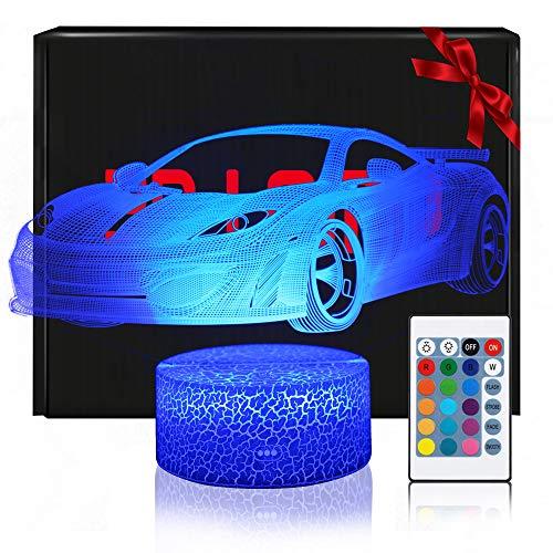 3D Auto Lampe LED Nachtlicht mit Fernbedienung, QiLiTd 16 Farben Wählbar Dimmbare Touch Schalter Nachtlampe Geburtstag Geschenk, Frohe Weihnachten Geschenke Für Mädchen Männer Frauen Kinder