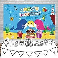 GooEoo 赤ちゃんの1歳の誕生日パーティーの背景10×7フィートビニール写真の背景海底世界漫画クジラ恐竜ヒトデクジラ黄色ピンクブルーカラーケーキギフト誕生日の装飾子供