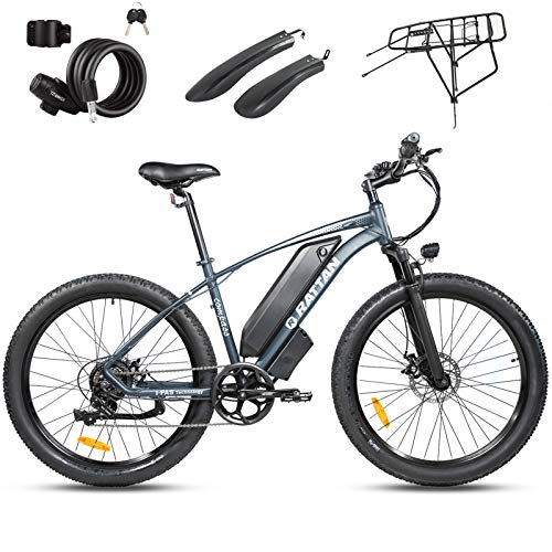 Rattan Electric Bike 500W 48V 27.5Inch Fat Tire Electric Bike 25MPH High Speed Bike Snow/Mountain Off-Road Electric Bikes 13AH Power E-Bike Shimano 7 Speed Shifter Electric Bicycle (Compass Gray)