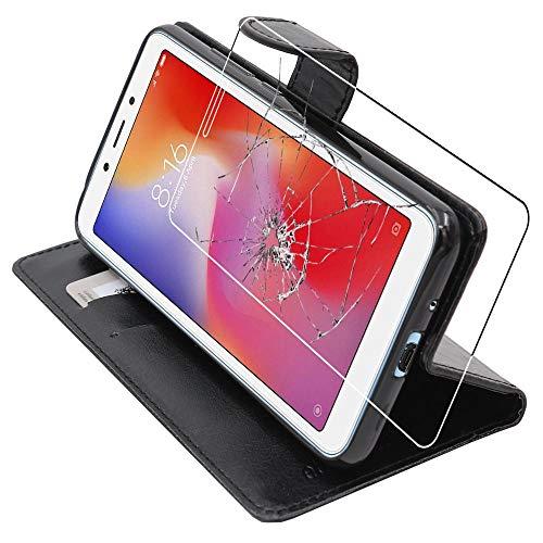 ebestStar - Cover Compatibile con Xiaomi Redmi 6 6A Custodia Portafoglio Pelle PU Protezione Libro Flip, Nero + Pellicola Vetro Temperato [Apparecchio: 147.5 x 71.5 x 8.3mm, 5.45'']