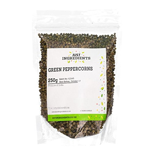 JustIngredients Essential Grüne Pfefferkörner, Green Peppercorns, 1er Pack (1 x 250 g)