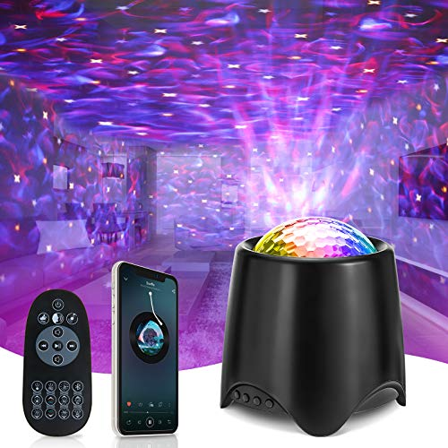 Galaxy Projector Elfeland Star Projector Night Light Ocean Wave Nebula Starry Projector with Phone and Remote Control White Noise Light Projector Skylight with Timing for Baby Kids Adults(Black)