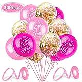 O-Kinee Geburtstagsdeko 1 Jahr Mädchen, Luftballon 1. Geburtstag Deko, Luftballon Rosa Konfetti zum 1. Geburtstag Dekorationen Kindergeburtstag Mädchen, Erst Geburtstag Deko