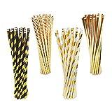 BELLE VOUS Pajitas (100 Pzs) - (19.7cm) Biodegradables Decorativas Pajitas - 4 Diseños - Dorada Papel de Rayas Pajitas para Boda, Cumpleaños Fiestas, Despedida de Soltera, Aniversario, Graduación