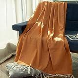 Manta de Tiro Suave Sylanfia con borlas, Manta acogedora con Flecos, Funda Suave para Colcha, sofá, Bufanda para sofá, 152x130cm