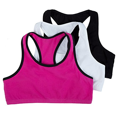 Fruit of the Loom Big Girl s Cotton Built-up Sport 3 Pack(Pack of 3) Bra, Passion Fruit with Black White Black, 34