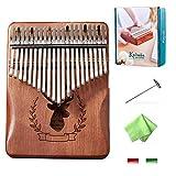 Kalimba 21 Key, Couple Cat Kalimba Thumb Piano, with Tuning Hammer Gift Box Stickers Portable Mbira Sanza Mahogany Body Professional Marimbas for Adults Children Beginners A