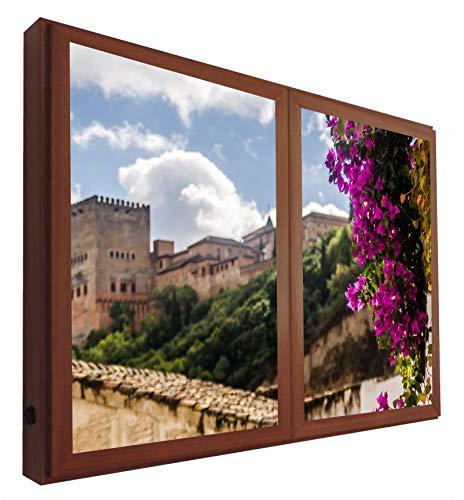 CCRETROILUMINADOS Vistas a la Alhambra Granada Ventanas Falsas Cuadros Decorativos Iluminada, Metacrilato, Nogal, 60 x 80