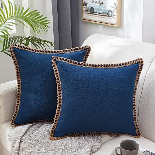 MERNETTE 2 Stück Jute-Kissenbezüge, Leinen, Landhaus-Design, dekorativ, quadratisch, 45 x 45 cm (Marineblau)