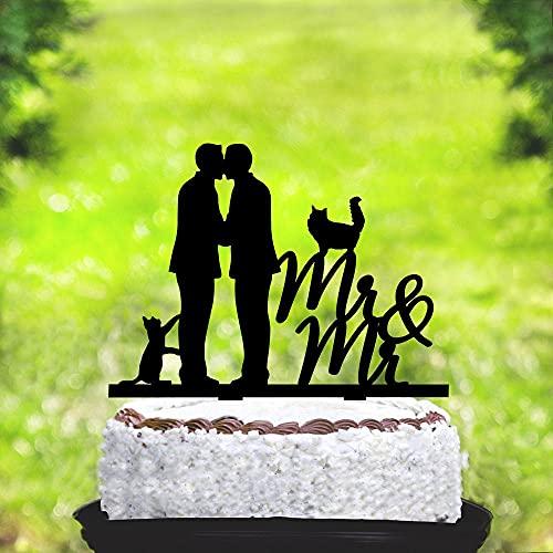 Decoración personalizada para tartas gay con gato, decoración gay para tartas de boda gay con el mismo sexo y fecha, para tarta de Mr y Mr