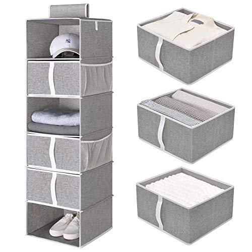 "StorageWorks 6-Shelf Hanging Closet Shelves Hanging Closet Organizer with 3 Drawers Canvas Light Gray 136""W x 122""D x 425""H"