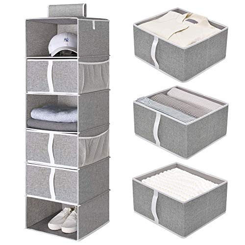 "StorageWorks 6-Shelf Hanging Closet Shelves, Hanging Closet Organizer with 3 Drawers, Canvas, Gray, 13.6""W x 12.2""D x 42.5""H"