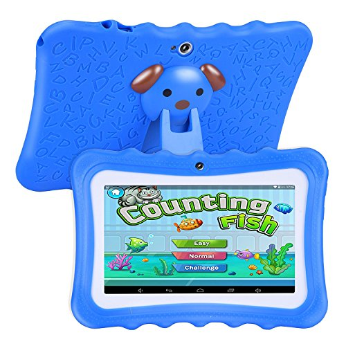 Fransande Upgrade Best Tablet for Kids, 7inch HD Display with Kid-proof Silicone Case (Quad Core, 8GB, Wifi, Front & Rear Camera, Playstore, Youtube, Android 4.4, IWAWA) (Blue)
