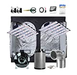 PrimeGarden 2X 360W Full Spectrum Professional LED Grow Light+ 96'x 48'x 80' 600D High-Reflective Mylar Grow Tent + 8'' Fan Filter Ventilation System + Accessories Growing Complete Kit