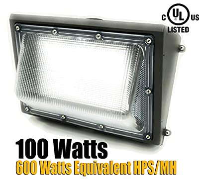 GENPAR Wall Pack LED Light UL Listed Lumens 6000K Daylight 600 Watt Equivalent HPS 5 Years WARR Outdoor Waterproof Commercial Industrial Security Lighting Replacement Lights Wallpack